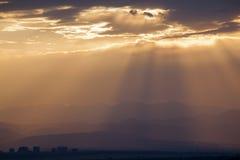 Coucher du soleil au-dessus du Colorado Front Range Image stock