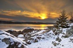 Coucher du soleil au-dessus du compartiment Image libre de droits