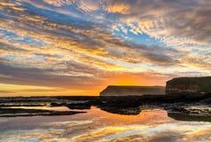 Coucher du soleil au-dessus du compartiment de curiosité, NZ Photos libres de droits