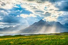Coucher du soleil au-dessus du fjord Image libre de droits