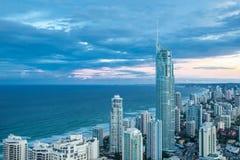 Coucher du soleil au-dessus du Gold Coast Photos stock