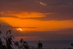 Coucher du soleil au-dessus du Haïti Photo stock