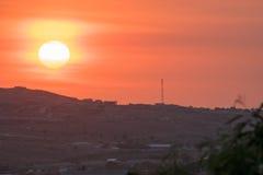 Coucher du soleil au-dessus du Haïti Images stock