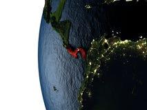 Coucher du soleil au-dessus du Panama de l'espace Photo libre de droits