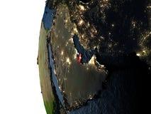 Coucher du soleil au-dessus du Qatar de l'espace Image libre de droits