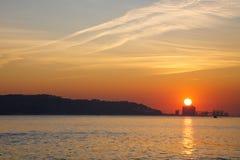 Coucher du soleil au-dessus du Tage Images libres de droits
