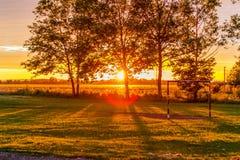 Coucher du soleil au-dessus du terrain de jeu Images stock