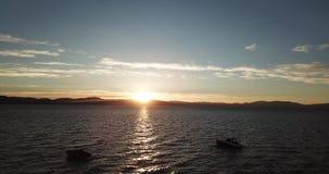 Coucher du soleil au-dessus du lac Tahoe Vue aérienne Nevada LES Etats-Unis photographie stock