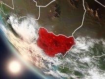Coucher du soleil au-dessus du Nigéria de l'espace Photos libres de droits