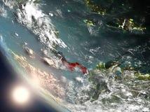 Coucher du soleil au-dessus du Panama de l'espace Images libres de droits