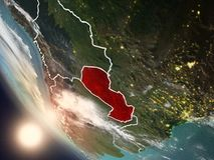Coucher du soleil au-dessus du Paraguay de l'espace Image stock