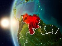 Coucher du soleil au-dessus du Venezuela de l'espace Image libre de droits