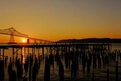 Coucher du soleil au Fleuve Columbia Photos stock