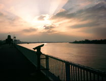 Coucher du soleil au fleuve Scheldt Photographie stock