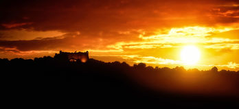 Coucher du soleil au fort du Mont Alban Photos libres de droits