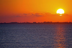 Coucher du soleil au fort Myers Beach Photo stock