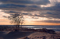 Coucher du soleil au golfe figé Photographie stock