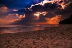 Coucher du soleil au havelock de plage de Radhanagar photo libre de droits