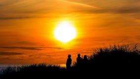 Coucher du soleil au Henne-brin image libre de droits