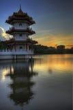Coucher du soleil au jardin chinois 2 de Singapour Photos stock