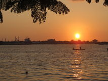 Coucher du soleil au Kerala Photo stock