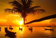 Coucher du soleil au kho tao Thaïlande Photographie stock libre de droits