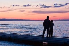 Coucher du soleil au lac Image stock
