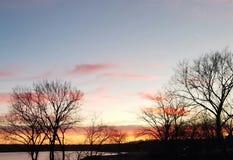 Coucher du soleil au lac Photo libre de droits