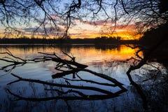 Coucher du soleil au lac en hiver Photos stock