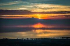 Coucher du soleil au lac Trasimeno Images libres de droits