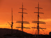 Coucher du soleil au littoral à Bergen (Norvège) Photo libre de droits