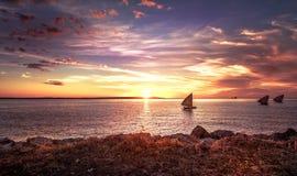 Coucher du soleil au Madagascar Photographie stock