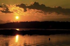 Coucher du soleil au Maine Photographie stock libre de droits