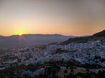 Coucher du soleil au Maroc Image stock