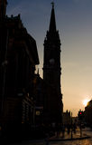 Coucher du soleil au mille royal à Edimbourg, Ecosse Photo stock