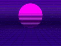 Coucher du soleil au néon dans le style de 80s Rétro fond futuriste de Synthwave Retrowave Vecteur illustration de vecteur