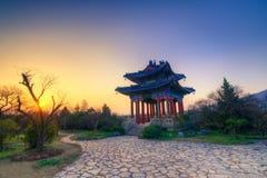 Coucher du soleil au pavillon de Boai Images libres de droits