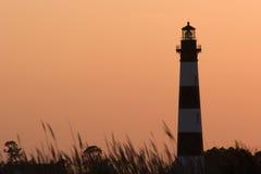 Coucher du soleil au phare de Bodie Image stock