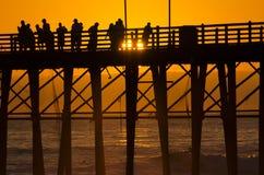Coucher du soleil au pilier Image stock
