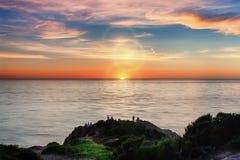 Coucher du soleil au point Dume Photographie stock libre de droits