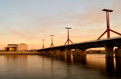 Coucher du soleil au pont de czi de ³ de kà de ¡ de Rà à Budapest Photos libres de droits