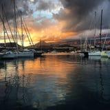 Coucher du soleil au port Photos libres de droits