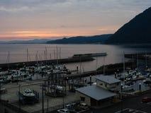Coucher du soleil au port de Beppu - préfecture d'Oita, Japon Photos stock