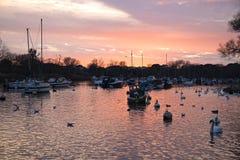 Coucher du soleil au port de Christchurch Photo stock