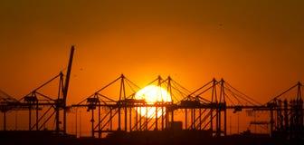 Coucher du soleil au port de Rotterdam, Hollande Photo stock