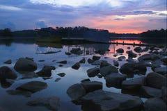 Coucher du soleil au réservoir de Singapour Pierce Photographie stock