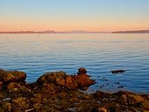 Coucher du soleil au rivage de Sidney photos libres de droits
