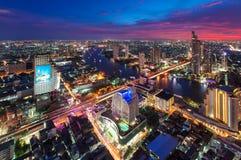 Coucher du soleil au sirocco, Bangkok, Thaïlande Images libres de droits