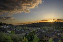 Coucher du soleil aux banlieues 2 Photo stock