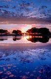 Coucher du soleil aux côtés extérieurs, la Caroline du Nord Photo libre de droits